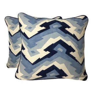 "Thibaut Mountain Linen Geometric Printed Pillows - a Pair, 20""x20"" For Sale"