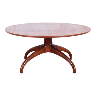 Heritage Henredon Mid-Century Modern Sculpted Walnut Cocktail Table For Sale