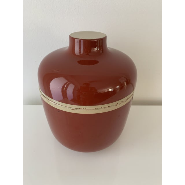 1980s Vintage Brick Red Lacquer Ware Nesting Jars - Set of 4 For Sale - Image 10 of 13
