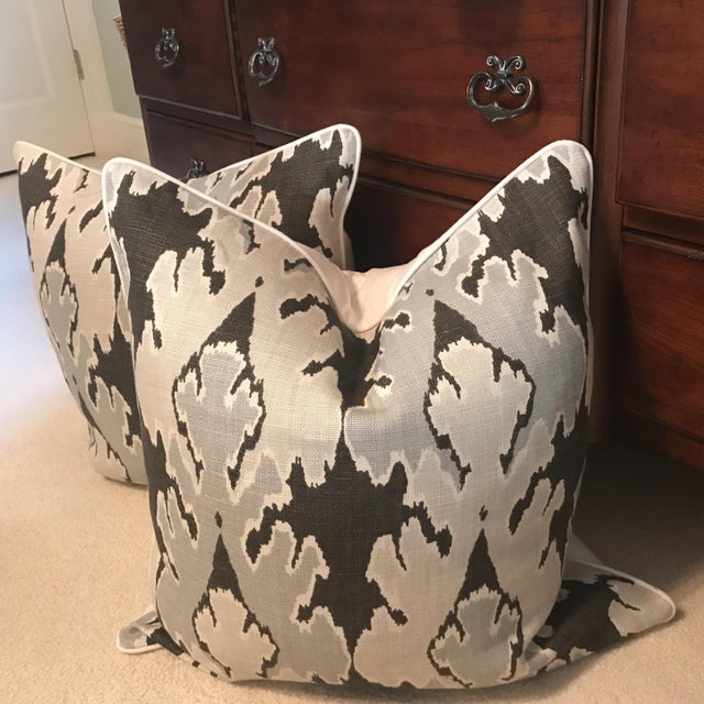 Add Grey to your decor with this rich ikat pillow cover. Warm shades of gray, graphite gray. Designed by Lee Jofa....