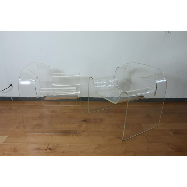 Plastic Vintage Pair of Lucite Ribbon Style Lounge Chairs For Sale - Image 7 of 13