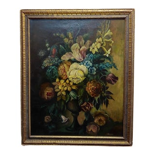 Still Life of Flowers in a Urn -19th Century French Oil Painting -C1820/60s For Sale