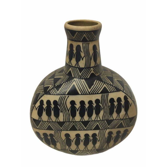 1960s Vintage Mid-Century Figural Motif Danish Ceramic Vase For Sale - Image 5 of 8