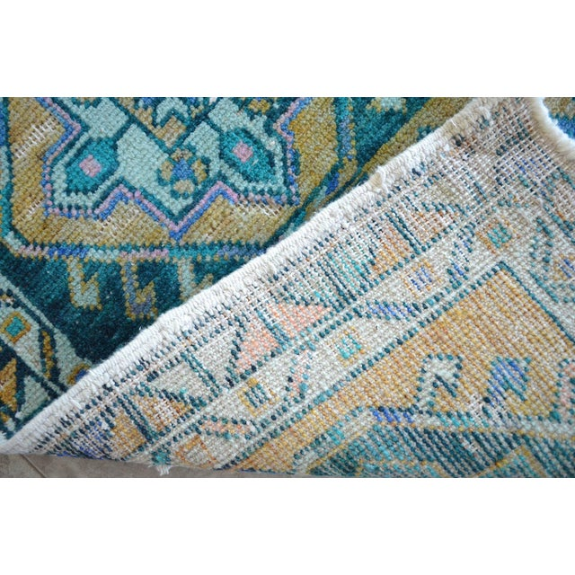 """Hand Knotted Oushak Rug. Faded Oushak Small Rug - 1' 8"""" X 3' 1"""" For Sale In Raleigh - Image 6 of 6"""