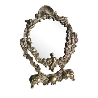 Vintage Silverplate Putti Vanity Tabletop Mirror For Sale