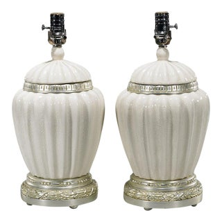 White Crackle Glazed Chinese Pottery Ginger Jars Now Designer Lamps - a Pair