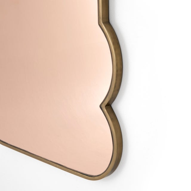 2020s Rose Mirrored Glass & Brass Mirror For Sale - Image 5 of 6