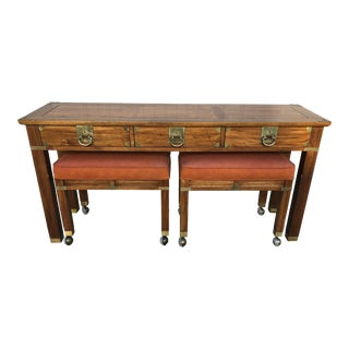 Hekman Chinoiserie Style Console Table & Benches- Set of 3 For Sale