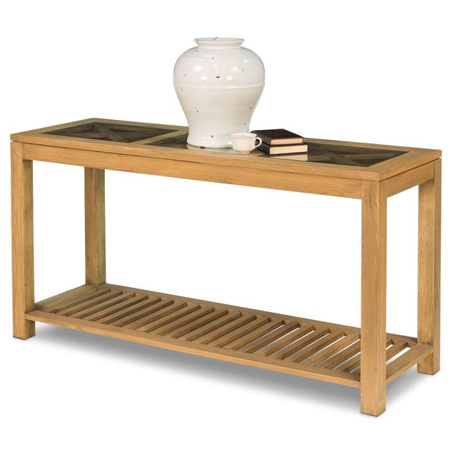 Sarreid LTD Oak Cross Wall Table - Image 7 of 8