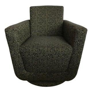 Postmodern Vintage Swivel Upholstered Bucket Chair For Sale