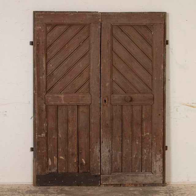 Antique Original Brown Painted Barn Doors - a Pair For Sale - Image 9 of 9