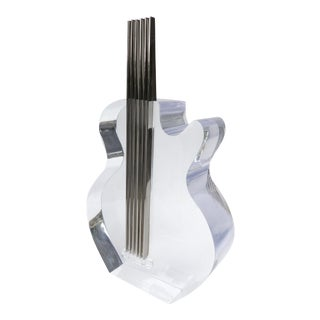Lucite & Stainless Steel Sculpture of a Guitar For Sale