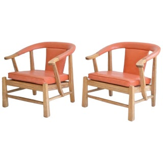 Pair of Midcentury Asian Inspired Club Chairs / Lounge Chairs For Sale