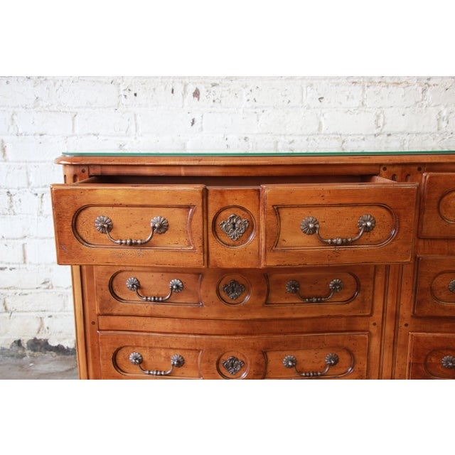 Cherry Wood Pierre Deux French Country Double Dresser by Henredon For Sale - Image 7 of 11