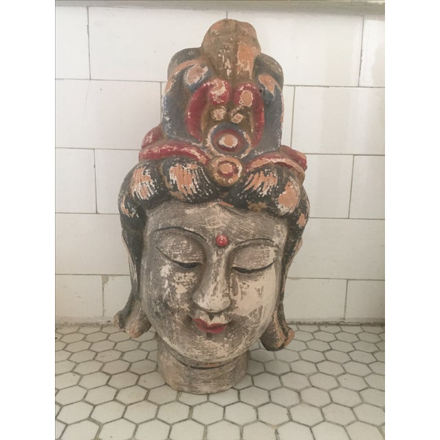 Hand painted heavy terra-cotta Quan Yin head, made by the Yao hill tribe of the Hunan province. Some wear and chips.