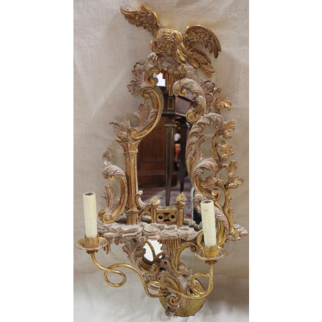 Rococo 20th Century Rococo Gold Sconces- a Pair For Sale - Image 3 of 12