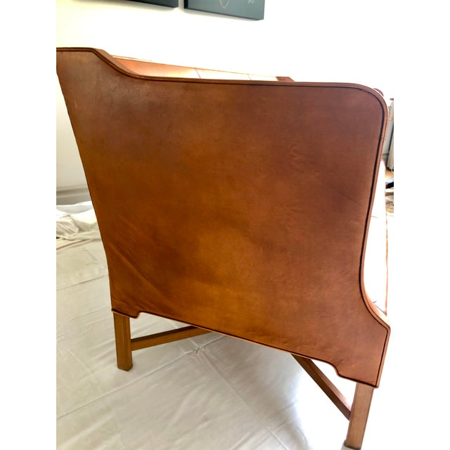 Mid-Century Modern Kaare Klint Model 4118 Leather and Legs of Mahogany Sofa For Sale - Image 3 of 8