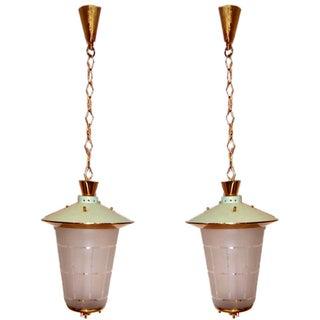 Classic Mid-Century Italian Hanging Lanterns - a Pair For Sale