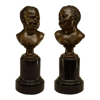 Victorian Bronze Busts of Crying Babies - a Pair For Sale