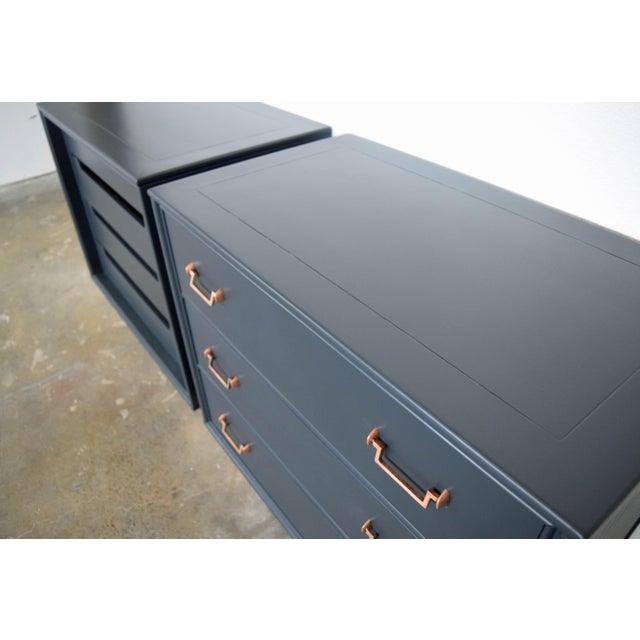 Mid-Century Modern Mid Century Modern Mismatch Black Large Nightstands - a Pair For Sale - Image 3 of 13