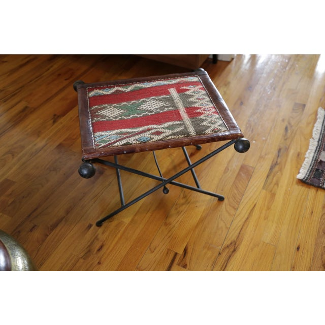Tribal Funky Moroccan Seat/Chair Leather, Iron and Kilim For Sale - Image 3 of 8