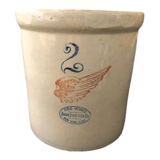 Antique Redwing Stoneware Pottery Crock For Sale