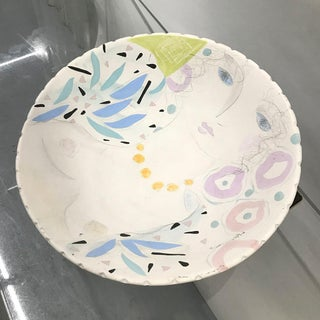 Large Vintage Ceramic Bowl With Hand Painted Portrait Preview