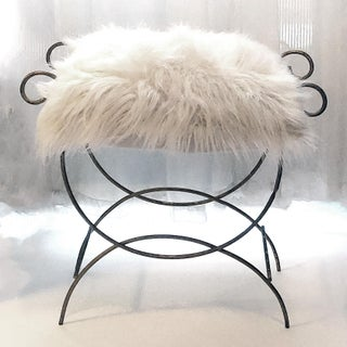 1950s Gilded Metal Hollywood Regency Vanity Bench & Faux Fur Seat Cushion Preview