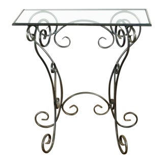 Glass Top Hall Table For Sale