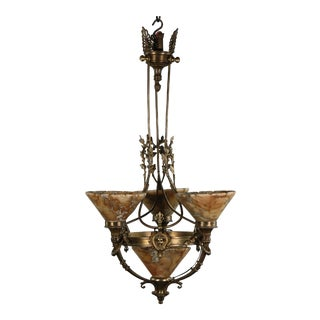 1930s French Empire Style Brass and Bronze and Alabaster Chandelier For Sale