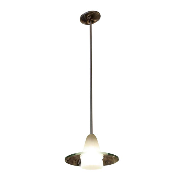 Modern Frosted Glass Pendant Light With Clear Disc For Sale