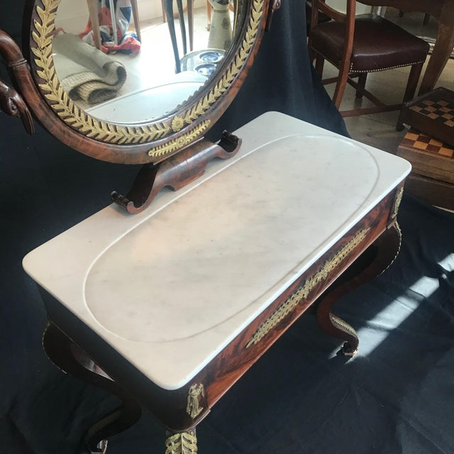 1940s 19th Century French Empire Neoclassical Mahogany Dressing Table Vanity For Sale - Image 5 of 13