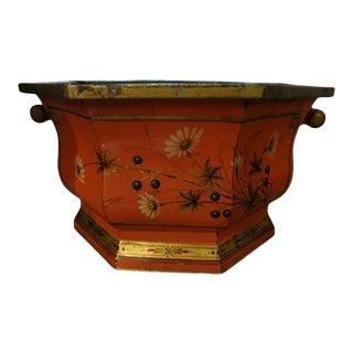 Italian Paint and Gilt Decorated Tole Jardiniere or Cachepot For Sale