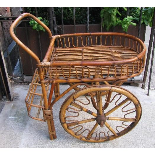 Brown French Riviera Rattan Bar Cart From the 1950s For Sale - Image 8 of 8