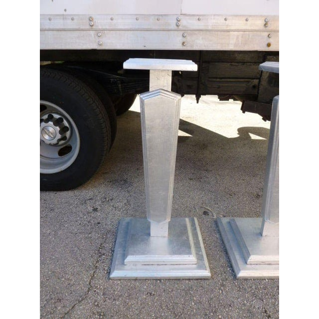 1930s 1930s Vintage Silver Leafed Art Deco Wood Pedestals - A Pair For Sale - Image 5 of 12