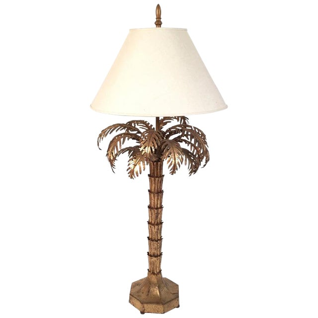 Gilt Metal Palm Tree Lamp For Sale