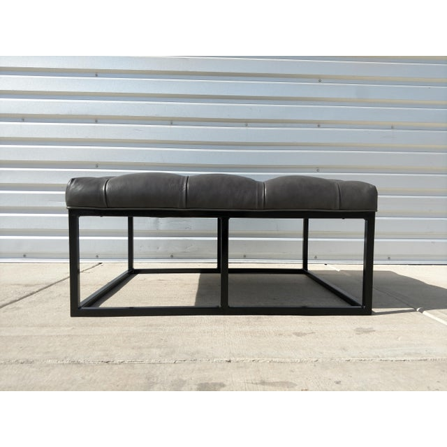 Minimalism Modern Gambrell Renard West End Leather Ottoman For Sale - Image 3 of 10