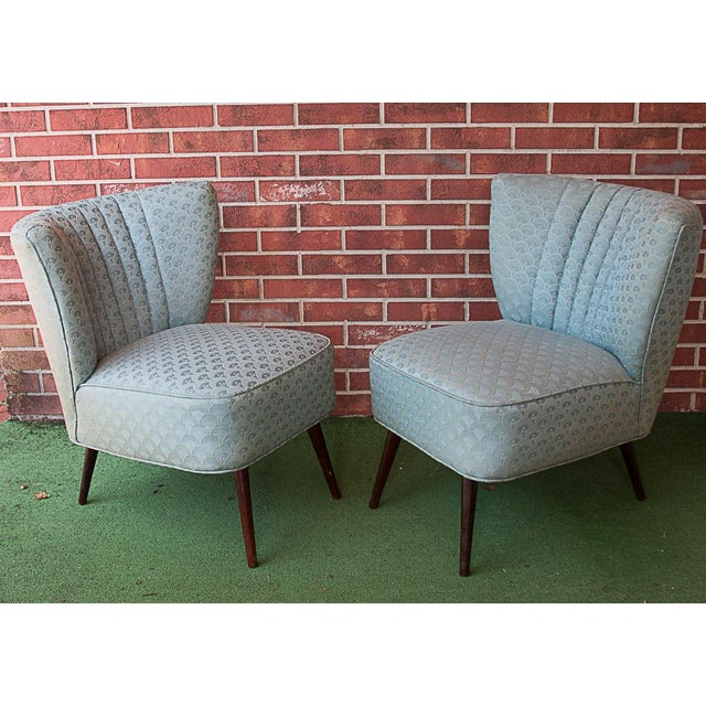 50's Era Slipper Chairs With Tapered Legs - A Pair - Image 3 of 10