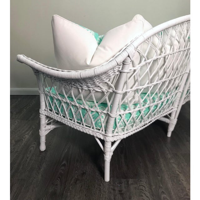 Vintage Wicker Loveseat in White Lacquer With Cushion Pillows in Aqua Pineapple For Sale - Image 4 of 7