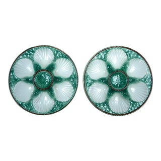 Pair of French Majolica Oyster Plates, Late 19th Century For Sale