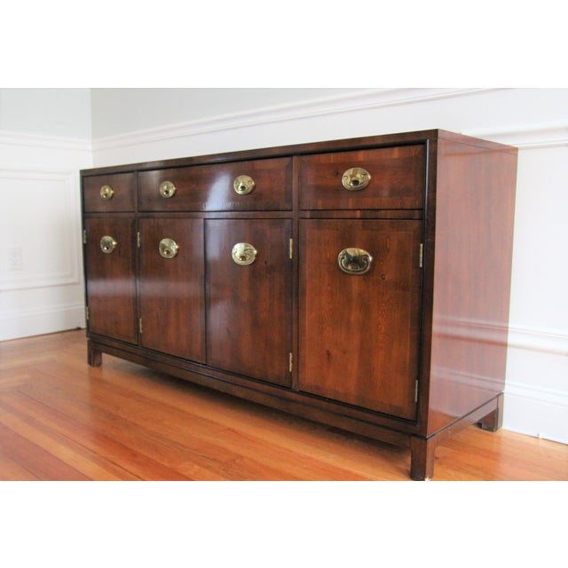 Hickory Furniture Hickory Manufacturing Company Campaign Style Buffet Server For Sale - Image 4 of 6