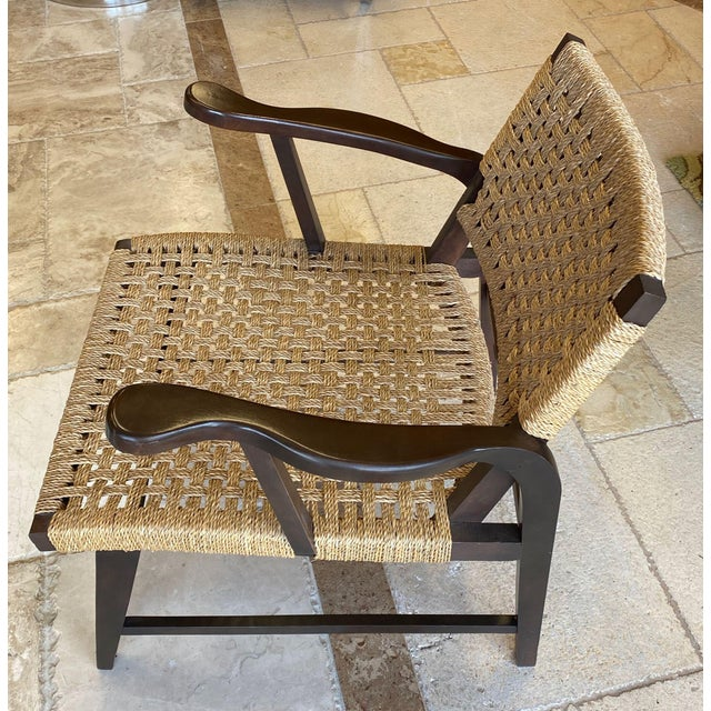 Wood Danish Mid Century Modern Rope Armchairs - a Pair For Sale - Image 7 of 10