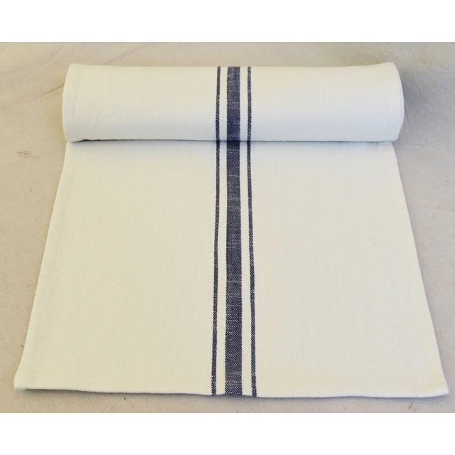 "Custom tailored 110""L table runner created from vintage/never used woven cotton blended fabric in a blue and white stripe..."