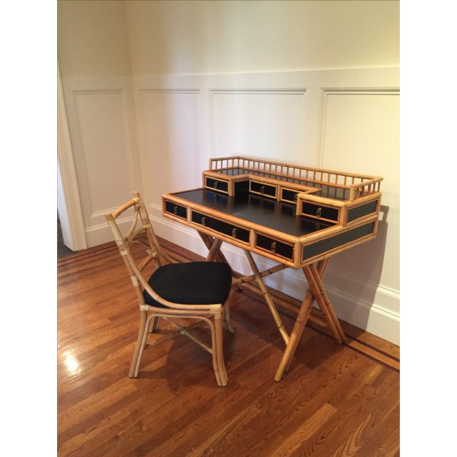 Black Lacquer & Bamboo Campaign Desk & Chair - Image 3 of 11
