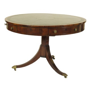 19th C. English Regency Mahogany Inlaid Drum Table For Sale