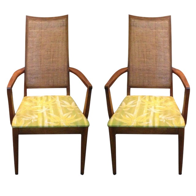 Mid-Century Caned Armchairs - A Pair For Sale
