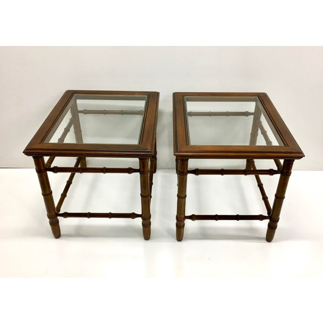 Mahogany & Glass Top End Tables - A Pair For Sale - Image 10 of 10