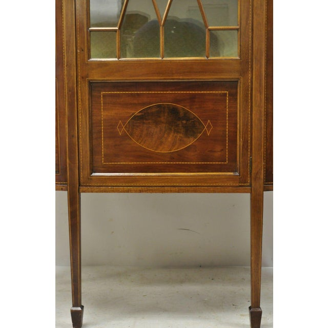 Early 20th Century English Edwardian Satinwood Inlay Bowed Curved Glass China Display Cabinet Curio For Sale - Image 5 of 13