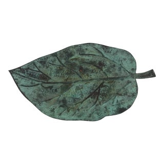 Aged Copper Large Decorative Leaf Serving Tray