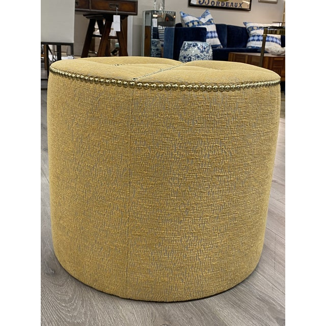Contemporary Upholstered Nailhead Trim Footstool Ottoman Pouf Beautiful Fabric For Sale - Image 3 of 8